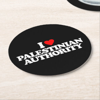 I LOVE PALESTINIAN AUTHORITY ROUND PAPER COASTER