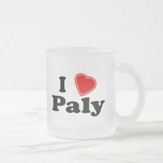 I Love Paly 10 Oz Frosted Glass Coffee Mug