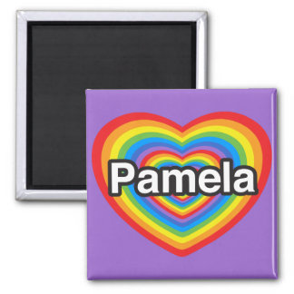 I love Pamela. I love you Pamela. Heart 2 Inch Square Magnet