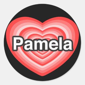I love Pamela. I love you Pamela. Heart Classic Round Sticker