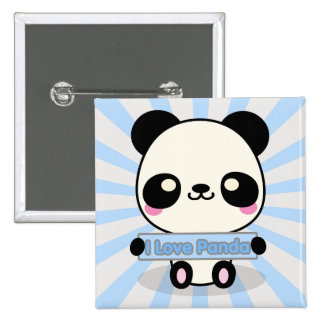 I Love Panda 2 Inch Square Button