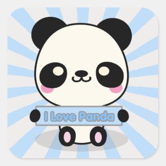 I Love Panda Square Sticker