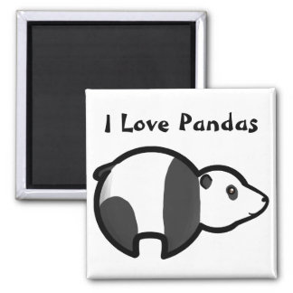 I Love Pandas 2 Inch Square Magnet