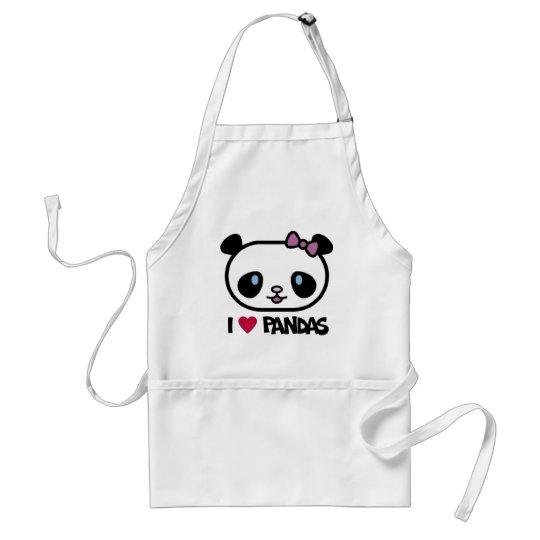 I Love Pandas Adult Apron