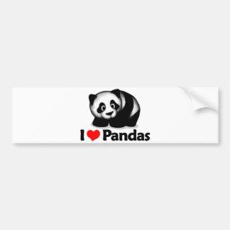 I Love Pandas Car Bumper Sticker