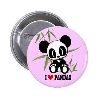 I Love Pandas Pinback Buttons
