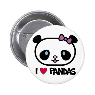 I Love Pandas Button