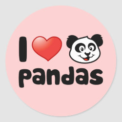 Round Sticker with I Love Pandas design
