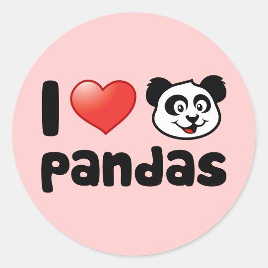 I Love Pandas Classic Round Sticker