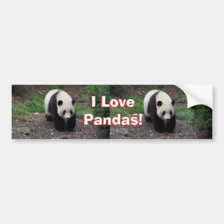 I Love Pandas! Giant Panda Bumper Sticker Car Bumper Sticker