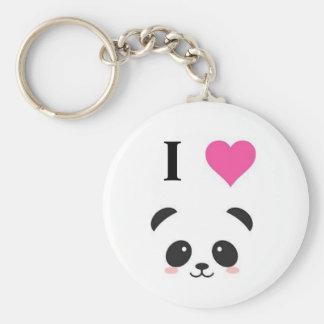 I love pandas basic round button keychain