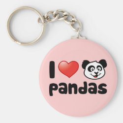 Basic Button Keychain with I Love Pandas design