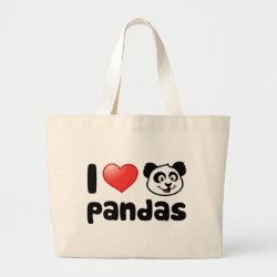 I Love Pandas Jumbo Tote Bag