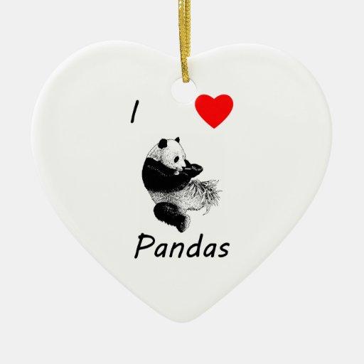 I Love Pandas Ornament