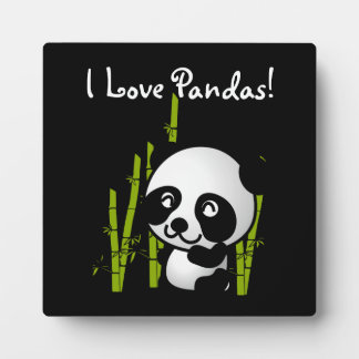 I Love Pandas Panda bear with bamboo Plaque