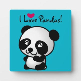 I Love Pandas Panda bear with heart Photo Plaque