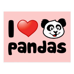 Postcard with I Love Pandas design