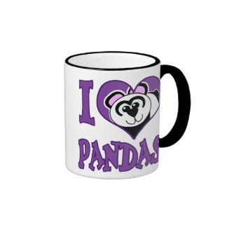 I Love pandas Ringer Coffee Mug