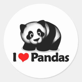 I Love Pandas Round Stickers