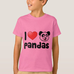 I Love Pandas Kids' Hanes TAGLESS® T-Shirt