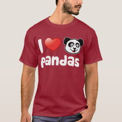Men's Basic Dark T-Shirt with I Love Pandas design