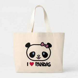 I Love Pandas Tote Bags