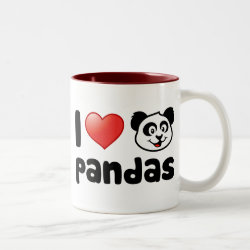 Two-Tone Mug with I Love Pandas design