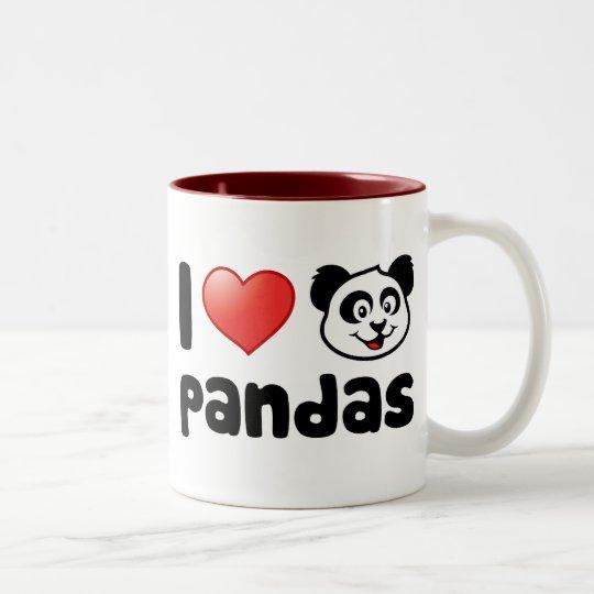 I Love Pandas Two-Tone Coffee Mug