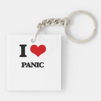 I Love Panic Square Acrylic Key Chains