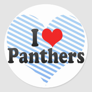 I Love Panthers Classic Round Sticker