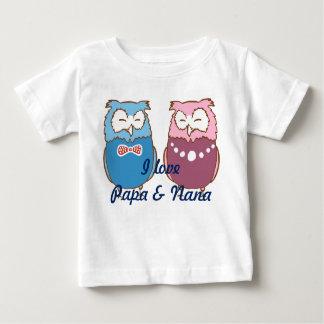 """""""I love Papa and Nana"""" owl couple Baby T-Shirt"""