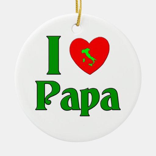 I Love Papa. Double-Sided Ceramic Round Christmas Ornament