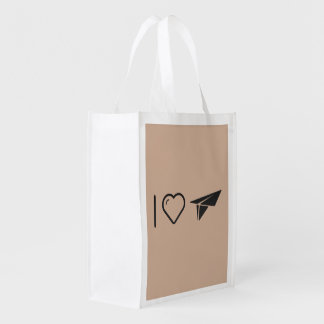 I Love Paper Airplane Reusable Grocery Bag