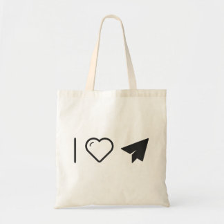 I Love Paper Airplanes Budget Tote Bag