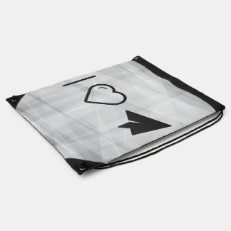 I Love Paper Airplanes Drawstring Bags