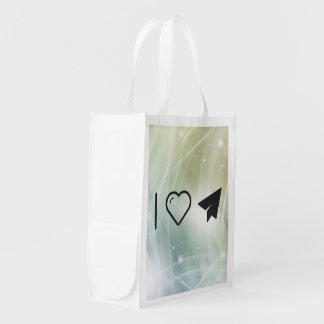 I Love Paper Airplanes Reusable Grocery Bag