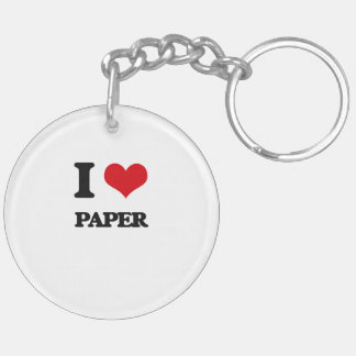 I Love Paper Double-Sided Round Acrylic Keychain