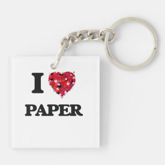 I Love Paper Double-Sided Square Acrylic Keychain