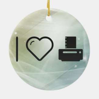 I Love Paper Printers Ceramic Ornament