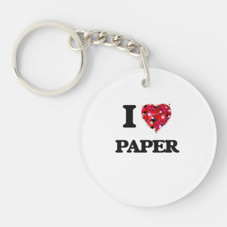 I Love Paper Single-Sided Round Acrylic Keychain