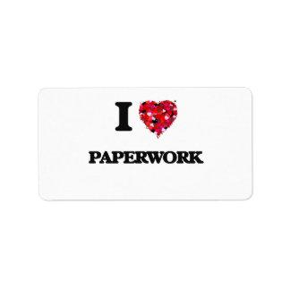 I Love Paperwork Address Label