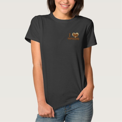 I Love Papillons Embroidered Shirt (T-Shirt)
