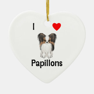 I Love Papillons (picture) Christmas Ornaments