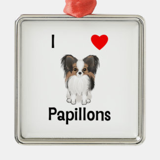 I Love Papillons (picture) Christmas Tree Ornaments