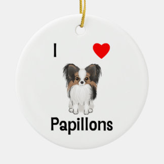 I Love Papillons (picture) Ornament
