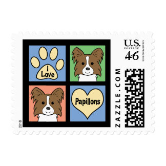 I Love Papillons Stamps