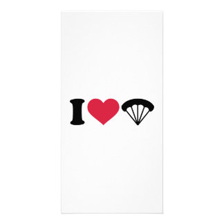 I love Parachute Skydiving Picture Card