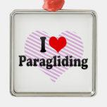 I love Paragliding Ornaments