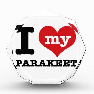 I Love parakeet Acrylic Award