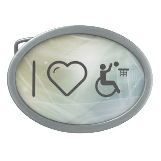 I Love Paralympic Basketball Athletes Oval Belt Buckle
